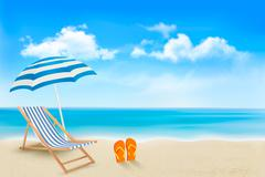 Stock Illustration of seaside view with an umbrella, beach chair and a pair of flip-flops. summer v