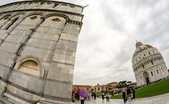 Cathedral, Baptistery and Tower of Pisa in Miracle square Stock Photos