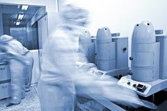 pharmaceutical companies, pharmaceutical production line - stock photo