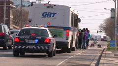 College  engineering students pull transit bus Stock Footage