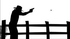 1195 Man Firing Gun Animation Silhouette,4K Stock Footage