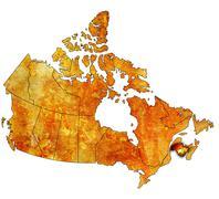New brunswick on map of canada Stock Illustration