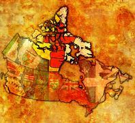 nunavut on map of canada - stock illustration