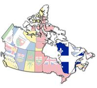 Quebec on map of canada Stock Illustration