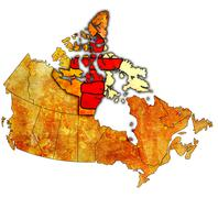 Nunavut on map of canada Stock Illustration