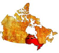 Ontario on map of canada Stock Illustration