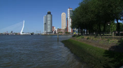 ROTTERDAM skyline Kop van Zuid + zoom in Hotel New York, Holland-America Line Stock Footage