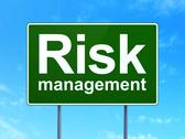 Stock Illustration of Finance concept: Risk Management on road sign background