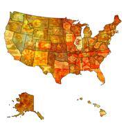 illinois on map of usa - stock illustration