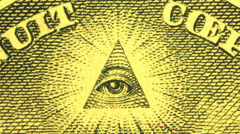 US $1 pyramid (eye) currency artwork macro video - stock footage