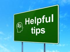 Stock Illustration of Education concept: Helpful Tips and Head With Finance Symbol on road sign