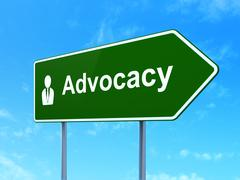 Law concept: Advocacy and Business Man on road sign background Piirros