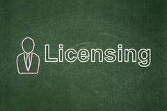 Stock Illustration of Law concept: Business Man and Licensing on chalkboard background