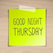 good night thursday sticky paper on brown wood background texture - stock illustration