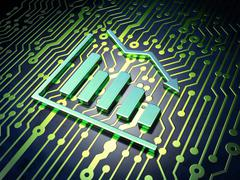 Business concept: Decline Graph on circuit board background - stock illustration