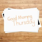 good morning thursday on paper and brown wood plank background - stock illustration