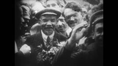 1919-1938 Lenin 05 - Posing with people - stock footage