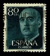 Spain-circa 1955:a stamp printed in spain shows image of francisco paulino he Stock Photos