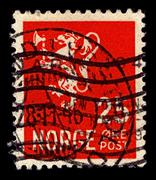 Norway-circa 1923:a stamp printed in norway shows image of the coat of arms o Stock Photos