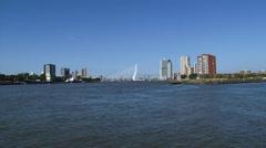 ROTTERDAM ity skyline, Erasmus bridge, Cruise terminal + pan SS Rotterdam V Stock Footage