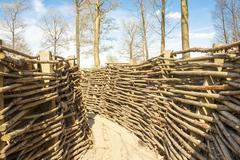 ww1 trench in bayernwald world war one belgium - stock photo