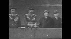 Cold War 1968 Moscow Military Parade 10 Brezhnev Speech Stock Footage