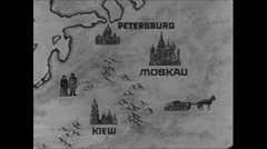 Cold War 1968 Russia Map Animation 01 Moscow Petersburg Kiev Stock Footage