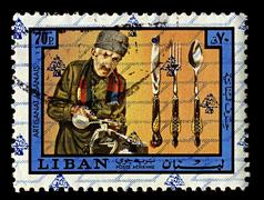 Lebanon-circa 1973:a stamp printed in lebanon shows image of cutlery refers t Kuvituskuvat