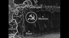 Cold War 1968 Russia Map Animation 02 Moscow Warsaw Petersburg Stock Footage