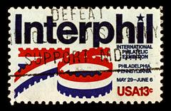 Usa-circa 1976:a stamp printed in usa shows image of international stamp exhi Stock Photos