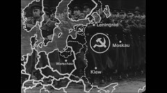 Cold War 1968 Russia Map Animation 03 Iron Curtain military bases Stock Footage