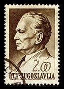 Yugoslavia-circa 1968:a stamp printed in yugoslavia shows image of josip broz Stock Photos