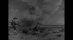 Stock Video Footage of WW2 Africa British Soldiers 01 Battlefield Artillery Combat Assault 01