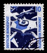 Germany-circa 1988:a stamp printed in germany shows image of frankfurt am mai Stock Photos