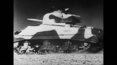 Stock Video Footage of WW2 Africa Tanks and armored vehicles 01 Driving 01
