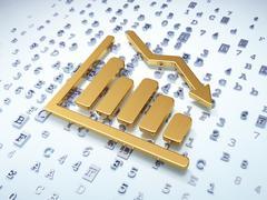 Marketing concept: Golden Decline Graph on digital background - stock illustration