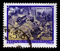 austria-circa 1986:a stamp printed in austria shows image of great abbeys of  - stock photo