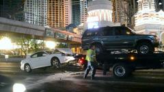 Las Vegas Strip, Car accident, - stock footage