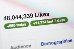 Facebook page with millions of likes Stock Photos