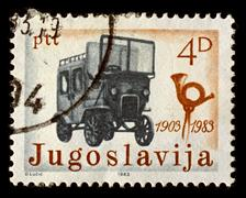Yugoslavia-circa 1983:a stamp printed in yugoslavia shows image of first post Stock Photos