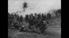 WW2 Allies Soldiers 01 Infantry Assault, Combat and Artillery Stock Footage