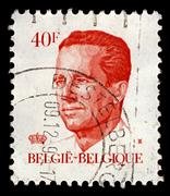 belgium-circa 1984:a stamp printed in belgium shows image of baudouin i reign - stock photo