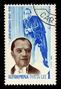 Romania-circa 1964:a stamp printed in romania shows image of jean athanasiu w Stock Photos
