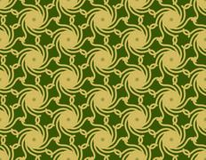 Gold cyclone on green pattern Stock Illustration