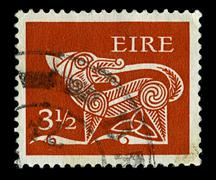 "ireland-circa 1971:a stamp printed in ireland shows image of ""dog"" part of an - stock photo"