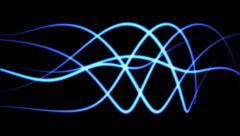 Seamless background of blue glowing lines in wave motion (FULL HD) Stock Footage