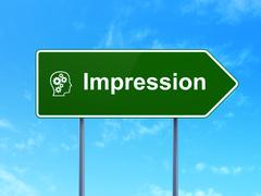 Marketing concept: Impression and Head With Gears on road sign - stock illustration