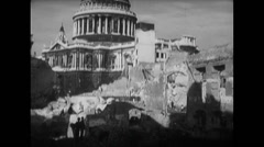 WW2 British Civil Life 03 Civilians and Soldiers Pray, Cathedral, Ruins Stock Footage