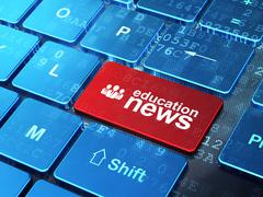 News concept: Business People and Education News on computer keyboard background Stock Illustration