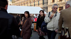 Traditional products fair, foodstuffs, tents, people eating, street food Stock Footage